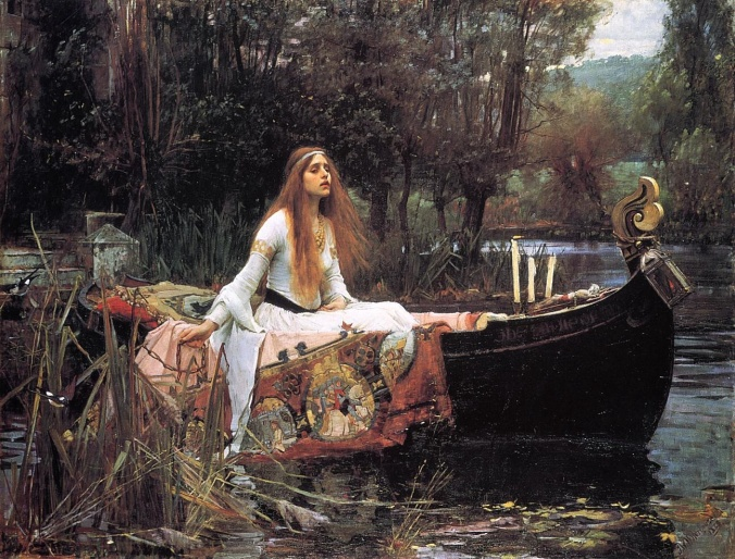 """Waterhouse, The Lady of Shallott, 1888"" by John William Waterhouse - http://www.artble.com/artists/john_william_waterhouse/paintings/the_lady_of_shalott/more_information/analysis. Licensed under Public Domain via Wikimedia Commons."